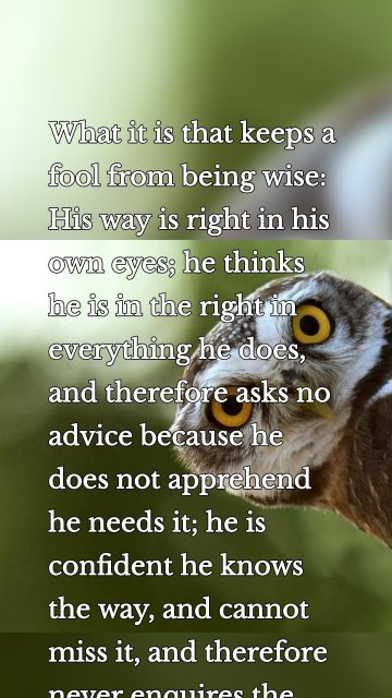 What it is that keeps a fool from being wise: His way is right in his own eyes; he thinks he is in the right in everything he does, and therefore asks no advice because he does not apprehend he needs it; he is confident he knows the way, and cannot miss it, and therefore never enquires the way.