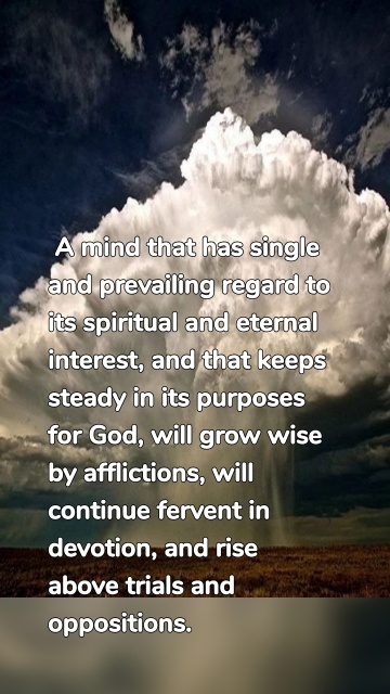 A mind that has single and prevailing regard to its spiritual and eternal interest, and that keeps steady in its purposes for God,will grow wise by afflictions,will continuefervent in devotion, and rise abovetrials and oppositions.